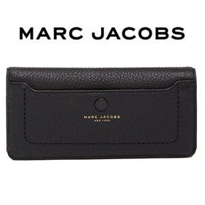 Marc Jacobs Black Peabled Leather Open Face Wallet